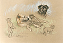 Lurcher and Pug by Barrie Linklater